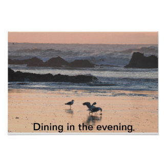 Dining in the evening poster
