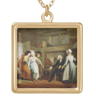 'Dining in the Hayfields' (surprised by Mr Thornhi Square Pendant Necklace