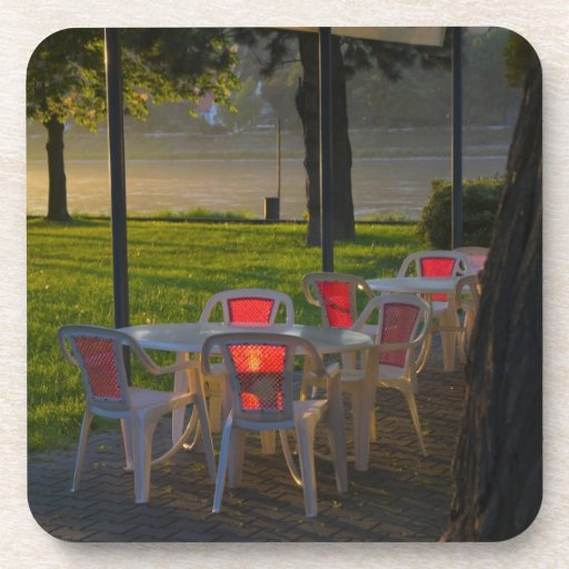 Dining table and chairs by the Danube River, Drink Coasters