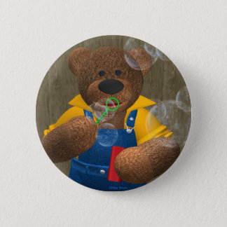 Dinky Bear: Blowing Bubbles 6 Cm Round Badge