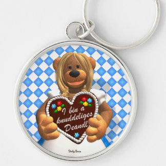 Dinky Bears Bavarian Cuddle Bear 2 Silver-Colored Round Key Ring
