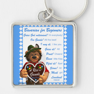 Dinky Bears Bavarian for Beginners Silver-Colored Square Key Ring