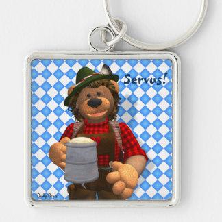 Dinky Bears Bavarian Oktoberfest Bear Silver-Colored Square Key Ring