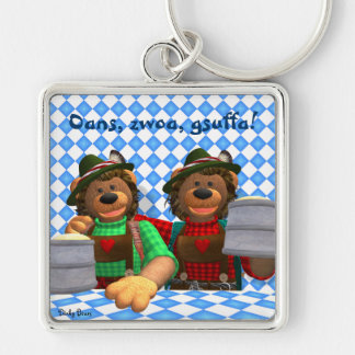 Dinky Bears Bavarian Oktoberfest Bears Silver-Colored Square Key Ring
