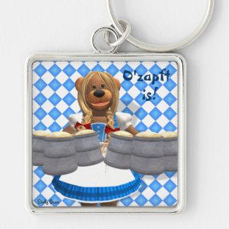 Dinky Bears Bavarian Oktoberfest Zenzi Silver-Colored Square Key Ring