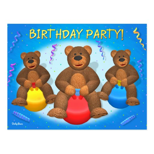 Dinky Bears Birthday Party Post Cards
