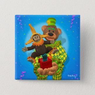 Dinky Bears Clown & Mr. Zippy in the Box 15 Cm Square Badge