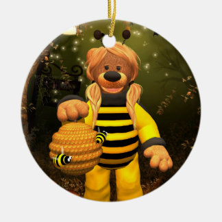 Dinky Bears Little Bee Round Ceramic Decoration