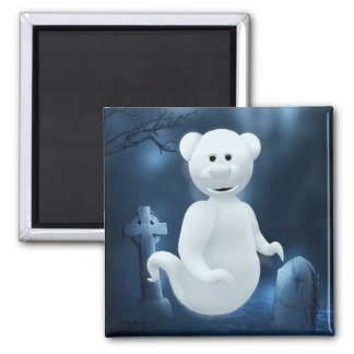Dinky Bears Little Ghost Square Magnet