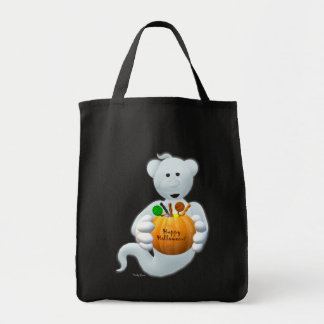 Dinky Bears Little Ghost with Goodies Grocery Tote Bag