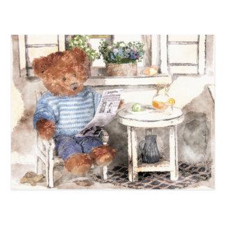 Dinky Bears Watercolor - Reading Bear Postcard