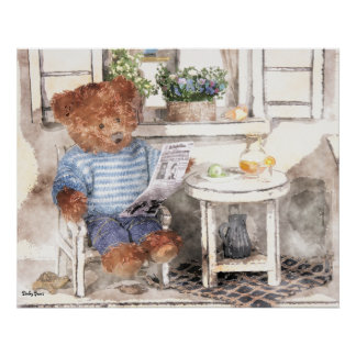 Dinky Bears Watercolor - Reading Bear Poster