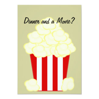 Dinner and a Movie Hot Buttered Popcorn Invitation
