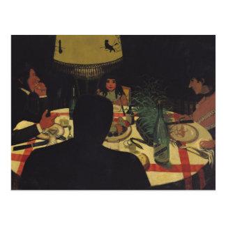 Dinner by Lamplight, 1899 Postcard