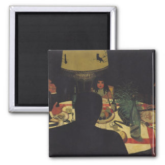 Dinner by Lamplight, 1899 Square Magnet