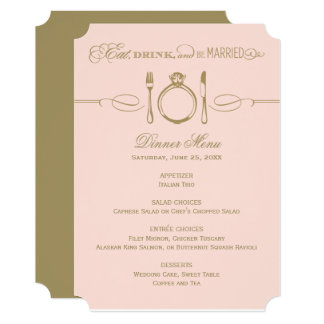Dinner Menu Card | Antique and Blush Be Married 13 Cm X 18 Cm Invitation Card