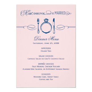 Dinner Menu Card | Eat, Drink & Be Married Theme 13 Cm X 18 Cm Invitation Card