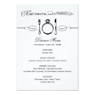 Dinner Menu Card | Eat, Drink & Be Married Theme Personalized Invitations