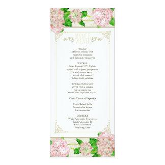 Dinner Menu - Pink Hydrangea Lace Floral Formal Card