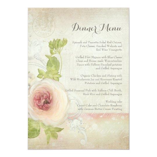 Dinner Menu Vintage Peony Flower Elegant Floral Card