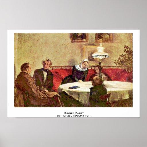 Dinner Party By Menzel Adolph Von Poster