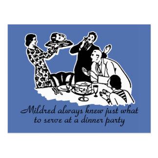 Dinner Party Head on a Platter Postcard