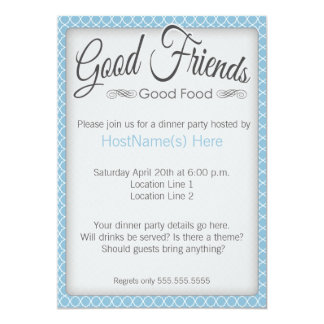 Dinner Party Invitations in Blue