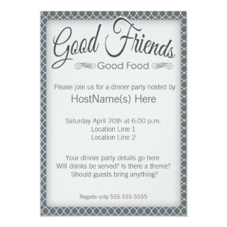 Dinner Party Invitations in Grey