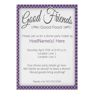 Dinner Party Invitations in Purple