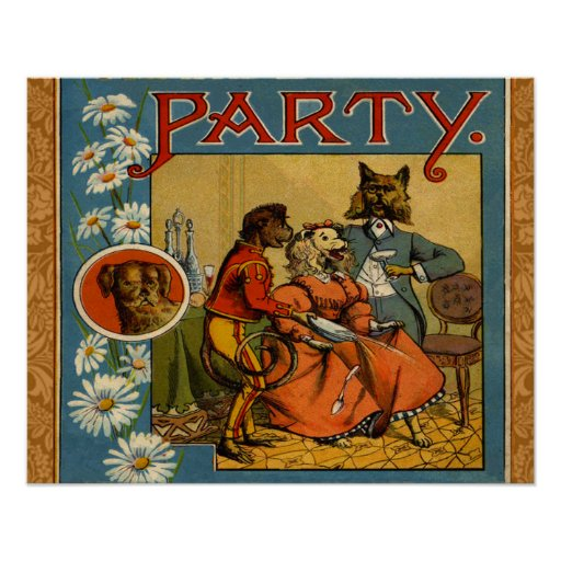Dinner Party Vintage dogs Poster