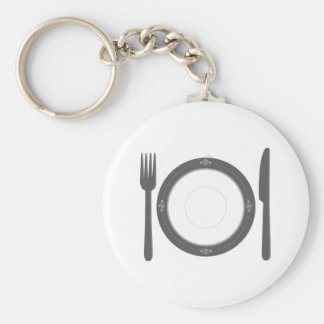 Dinner Place Setting Basic Round Button Key Ring