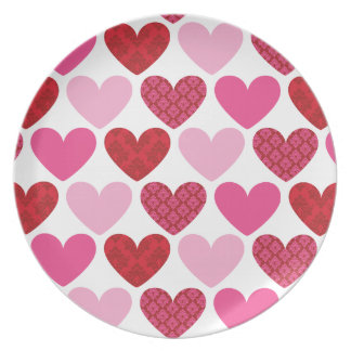 DINNER PLATE :: damask hearts 2
