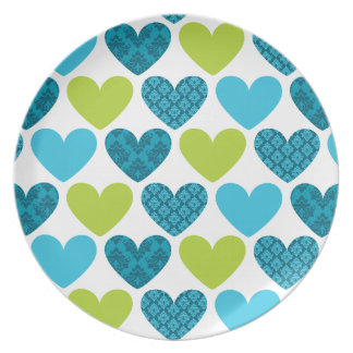 DINNER PLATE :: damask hearts 3