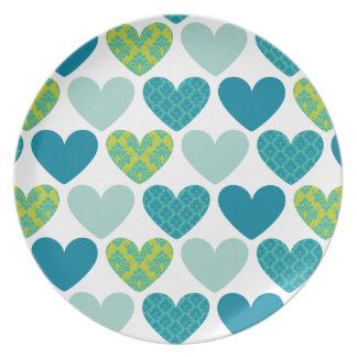 DINNER PLATE :: damask hearts 4