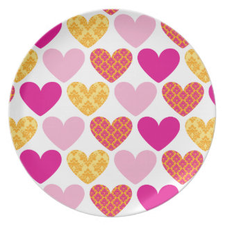 DINNER PLATE :: damask hearts 6