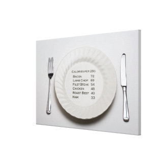 Dinner plate with list of meat calories on it canvas prints