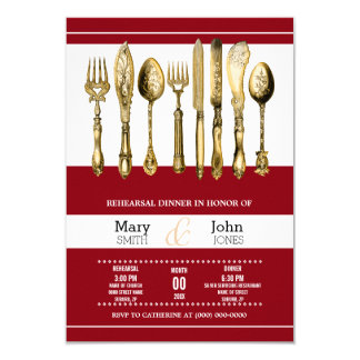 Dinner rehearsal party burgundy gold 9 cm x 13 cm invitation card