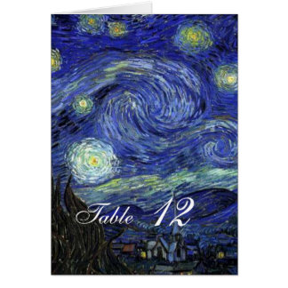 Dinner table card. Vincent van Gogh, Starry Night Note Card