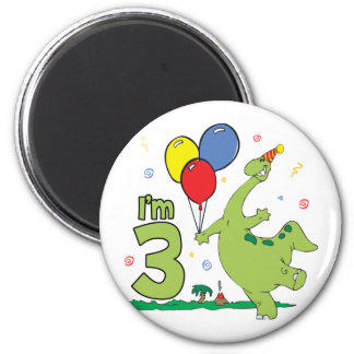Dino 3rd Birthday 6 Cm Round Magnet