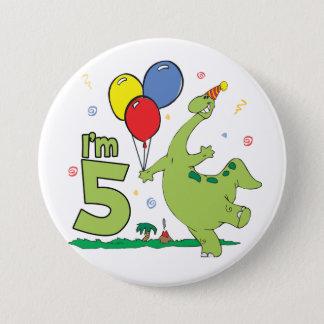 Dino 5th Birthday Button