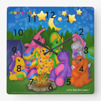 Dino-Buddies™ Square Wall Clock – Happy Campers