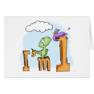 Dino Fun 1st Birthday Invitation Greeting Card
