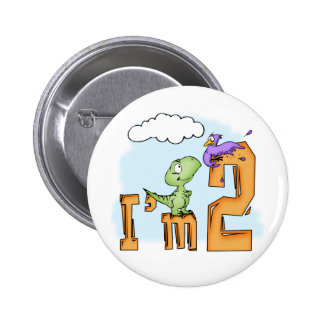 Dino Fun 2nd Birthday 6 Cm Round Badge