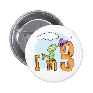 Dino Fun 3rd Birthday 6 Cm Round Badge