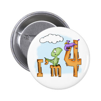 Dino Fun 4th Birthday 6 Cm Round Badge