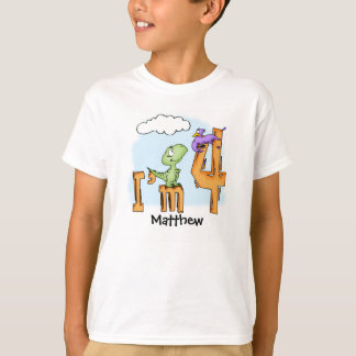 Dino Fun 4th Birthday Personalised Dinosaur T-Shirt