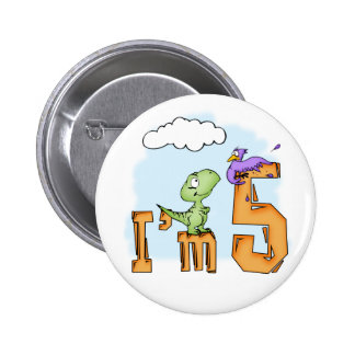 Dino Fun 5th Birthday 6 Cm Round Badge