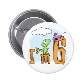 Dino Fun 6th Birthday 6 Cm Round Badge