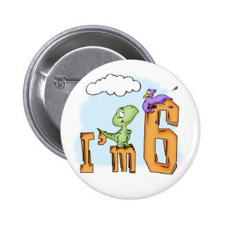 Dino Fun 6th Birthday 6 Cm Round Badge
