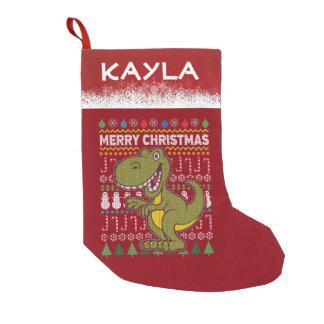 Dino Green Ugly Christmas Sweater Wildlife Series Small Christmas Stocking